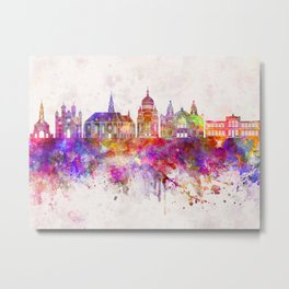 Cluj-Napoca skyline in watercolor background Metal Print