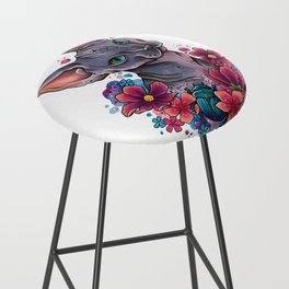 Neo Traditional Sphynx cat and flowers Bar Stool