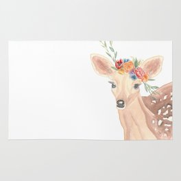 Watercolor Deer Flower Crown Rug