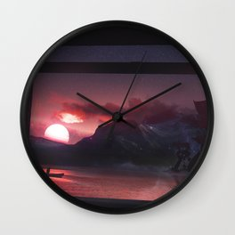 Temples and Sunset Wall Clock