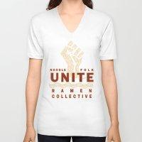 ramen V-neck T-shirts featuring Ramen Collective by Moonlight