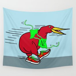 Kiwi Wearing Running Shoes Wall Tapestry