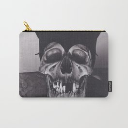 Original Charcoal Drawing of Skull Wearing a Cat Mask Carry-All Pouch