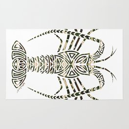 Tribal Camouflage Spiny Lobster on White Rug
