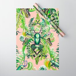 Malachite pattern on coral Wrapping Paper