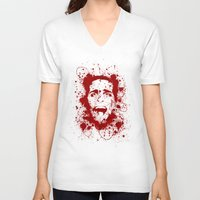 scary V-neck T-shirts featuring American Psycho by David