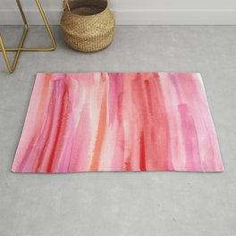 Cherry Stripes Abstract Watercolor Rug