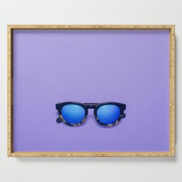 Blue Lens Sunglasses on a Purple Background Serving Tray