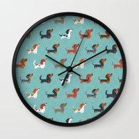 dachshund Wall Clocks featuring DACHSHUND by DoggieDrawings