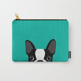 Boston Terrier Peek - Black on Teal Carry-All Pouch