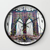brooklyn bridge Wall Clocks featuring brooklyn bridge by Vector Art