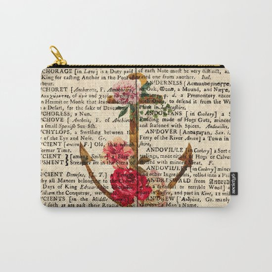 Vintage Anchor with Flowers Dictionary Art Carry-All Pouch