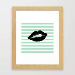 Pastel Goth - Mint Stripes and Lips 1 Framed Art Print