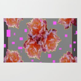 Grey & Violet Design & Old Rose flowers Pattern Art Rug