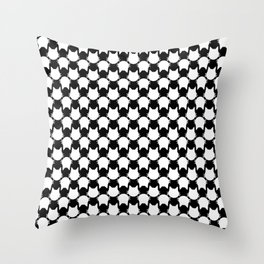 Graphic White Cat Print Throw Pillow