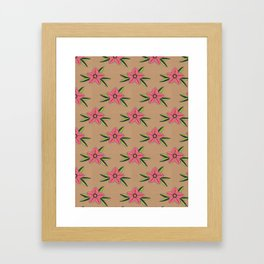 Old school tattoo flower pattern Framed Art Print