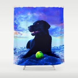 Ziggy Black Labrador Shower Curtain