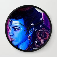 shiva Wall Clocks featuring Lord Shiva by Manvee Singh