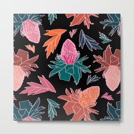 Tropical Ginger Plants in Coral + Black Metal Print