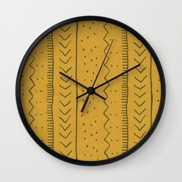 Moroccan Stripe in Mustard Yellow Wall Clock