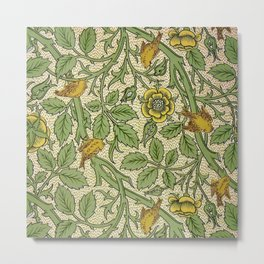 William Morris Yellow Begonia and Songbirds Textile Tapestry Pattern Metal Print