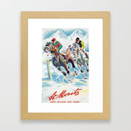 Horse Race,Switzerland Vintage Travel Poster Framed Art Print