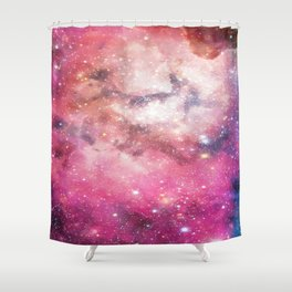 Pink Gaseous Galaxy - Interstellar Space Painting Shower Curtain