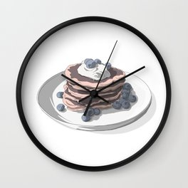Pancakes with blueberries Wall Clock