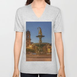 Church Peru Fountains Cusco HDR Night temple Street lights Cities Building Sculptures HDRI Temples night time Houses Unisex V-Neck