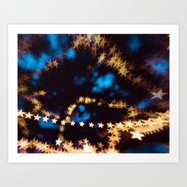 Starry Night Stars Bokeh Night Photography Art Print