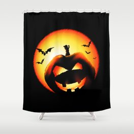 Smile Of Scary Pumpkin Shower Curtain