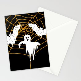 Bats and Ghost white - black color Stationery Cards