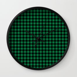 Winter green and black plaid christmas gifts minimal pattern plaids checked Wall Clock