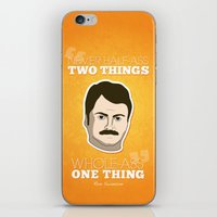 ron swanson iPhone & iPod Skins featuring Ron Swanson by irosebot