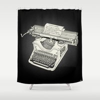 typewriter Shower Curtains featuring typewriter by Borja Espasa