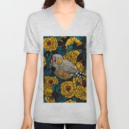 Zebra finch and rose bush  Unisex V-Neck