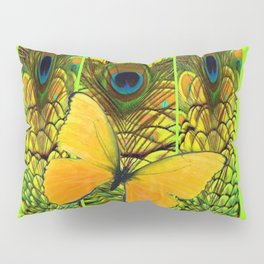 ART NOUVEAU YELLOW BUTTERFLY PEACOCK FEATHERS Pillow Sham