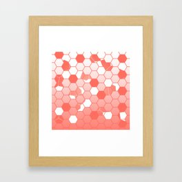 LIVING CORAL PANTONE COLOR OF THE YEAR 2019 SCATTERED HEXAGON OMBRE GRAPHIC DESIGN Framed Art Print