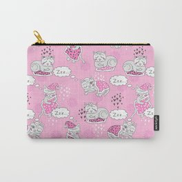 Lovely sleepy kitty with it's favorite blanket print Carry-All Pouch