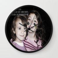 ohana Wall Clocks featuring SISTERS|||OHANA by Smile_Error