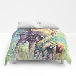 Colorful Mother Elephant and Baby Comforters
