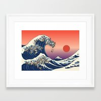 pug Framed Art Prints featuring The Great Wave of Pug   by Huebucket