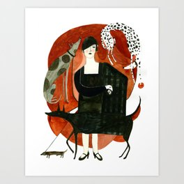 Fashion and Dogs Art Print
