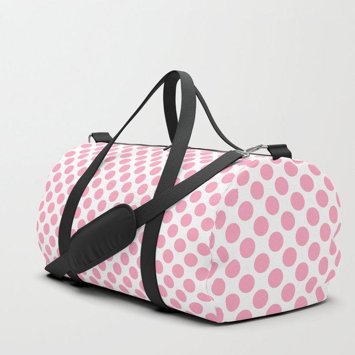 dafd7035a Pink Polka Dots Duffle Bag by leahmcphail | Society6