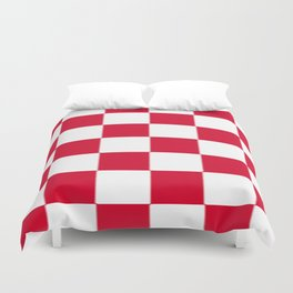 Red and white zig zag checkered artwork Duvet Cover