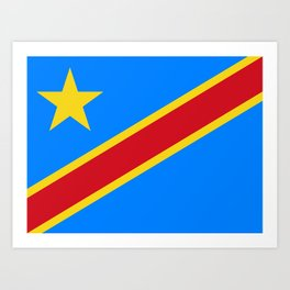 National flag of the Democratic Republic of the Congo, Authentic version (to scale and color) Art Print