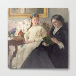 The Mother and Sister of the Artist - Marie-Joséphine & Edma by Berthe Morisot Metal Print