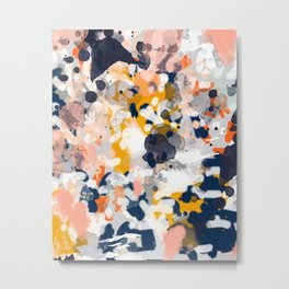 Stella - Abstract painting in modern fresh colors navy, orange, pink, cream, white, and gold Metal Print