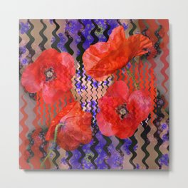 Summer Joy, abstract waves with poppies Metal Print