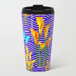 Moss Green Blue-Gold  Butterfly Floral Art Travel Mug